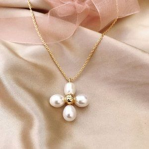 Tory Burch Four-Leaf Clover Pearl Pendant Necklace